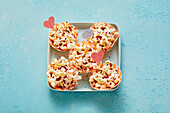 Rosa Himbeer-Popcorn (zuckerfrei)