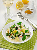 Spring curry with turnips, mange tout and baby spinach