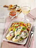 Savoy cabbage salad wraps with roasted pretzels in harissa