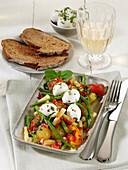 Bean salad with cherry tomatoes and mini buffalo mozzarella
