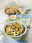 Celery salad with apples, shiitake mushrooms and a lemon-and-mustard dressing