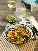 Quick curry noodles with roast pork fillet