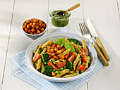 Grape seed pasta with chickpeas, broccoli and tomatoes