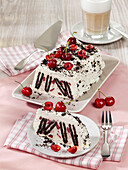 Cherry ice-cream cake with mascarpone and chocolate wafer biscuits
