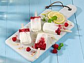 Raspberry and yogurt ice cream sticks