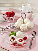 Raspberry coconut pralines