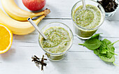 Vegan algae smoothie with fruits