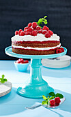 Vegan Naked Cake with raspberries and coconut