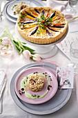 Radish and asparagus tartare, carrot quiche