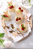 Lemon cream with raspberries