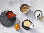 Lightning sauces - pesto, tomato sauce, mayonnaise, pepper sauce, hollandaise