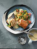 Pannfisch de luxe with mustard foam sauce