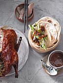 Peking duck with homemade hoisin sauce and Asian pancakes