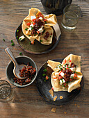 Crispy bowls with brie and bacon jam