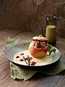 Stuffed baked apple with crème anglaise