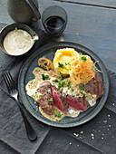 Grilled flank steak with café de Paris sauce