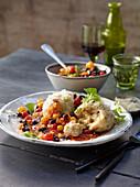 Chilli pecorino dumplings and bean and tomato sugo