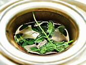 Mint tea brewed in a tea strainer
