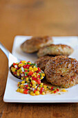 Prawn meatballs with mango chilli sauce