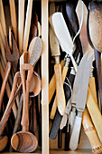 Various cooking utensils in a drawer