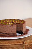 Chocolate mousse cake with tonka beans, sliced