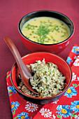 Lemongrass potato soup and fennel mackerel tartare