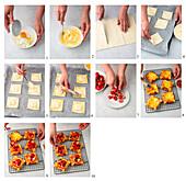Preparing Danish pastry with strawberries