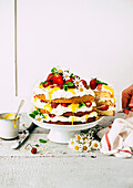Strawberry tart with mascarpone and lemon curd