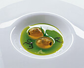 Verace mussels in their own juice with dulse seaweed and celery gazpacho