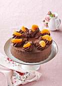 Chocolate cake with tangerines