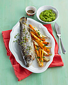 Baked trout with pea mash