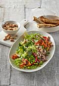 Quinoa salad with sweet potatoes and broccoli