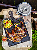 Whole grilled chicken marinated in sour buttermilch