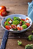 Broccoli tomato feta salad