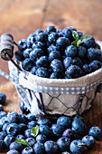 Blueberry in a rustic basket