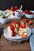 Rhubarb cake with strawberry sauce