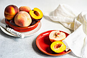 Ripe and healthy peach fruits in the bowl