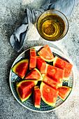 Tasty ripe watermelon on concrete background