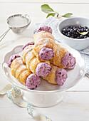 Creamy rolls with blueberry cream