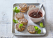 Sandwich cookies with mint cream and chocolate