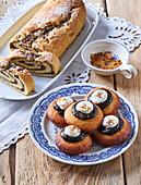Potato doughnuts and roll prepared from the same dough