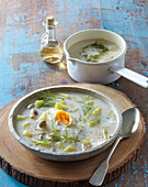 Old Bohemian dill soup with poched egg