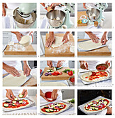 Pizza with zucchini and tomatoes - step by step