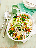 Chicken and barley salad with pumpkin