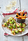 Brussels sprout shashlik with bacon and potatoes