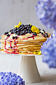 Lemon Blueberry Crepe Cake