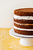 Naked chocolate cake before icing and decorating