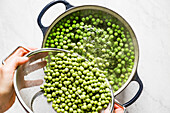 Blanched Green Peas, the preparation and process
