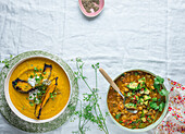 Spicy Pumpkin Soup, and Chickpea and Tomato Soup