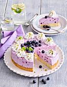Blueberry custard tart with cream